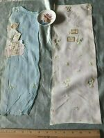 2 Antique Swiss c1920-30 Tiny Cotton Floral Embroidery Samples~Blue & White~Doll