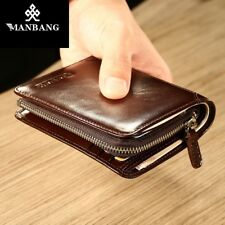 MANBANG Luxury Mens Wallet Genuine LeatherTrifold Zip Coins Purse Christmas gift