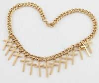 GOLD TONE THICK CHAIN WITH MULTI-CROSS DROP CHARM NECKLACE