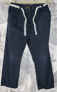 Girls Age 12-18 Months - Next Navy Trousers With Belt