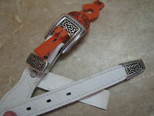 New O/S CIRCLE Y BRAND White Leather Belt SILVER CELTIC KNOT BUCKLE/HARDWARE 32