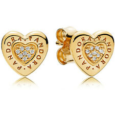 NEW GENUINE PANDORA Shine Logo Heart Stud Earrings 267382CZ SILVER AND 18CT GOLD