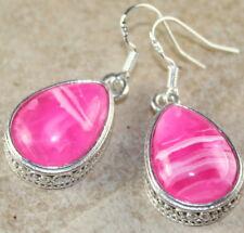 SILVER Vintage Style Pink Red Agate Teardrop Earrings WP12607