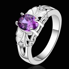 925 Sterling Silver Purple Zirconia Flower Band Ring Size 8 B82