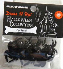 Spiders / Dress It Up Halloween Buttons / Jesse James / Black Glitter & Flocked