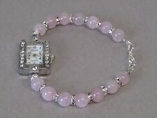 Rose Quartz & Crystal Gemstone Beaded Bracelet Diamante Wrist Watch Christmas!