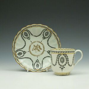 First Period Worcester Fluted Neo Classical Pattern Coffee Cup and Saucer c1780
