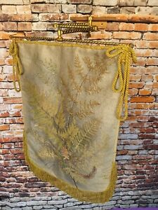 Unusual antique 19th century adjustable brass screen with hanging silkwork