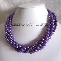 "18"" 4-8mm Purple 5Row Freshwater Pearl Necklace Fashion Jewelry Strand U"