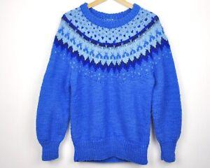 Icelandic 100% Wool Men M - L Blue Sweater Norwegian Jumper Chunky Nordic Norway