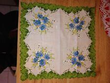 Vintage Ladies Hankie Green Leaves Blue Flowers