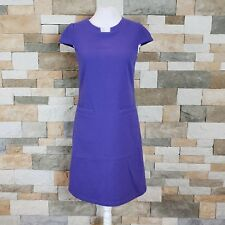 United Colors of Benetton Sz S Purple Wool Blend Cap Sleeve Shift Dress Pockets