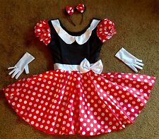 NEW DISNEY MINNIE MOUSE COSTUME DRESS & EARS HEADBAND & GLOVES ADULT WOMENS S 8