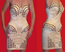 ABYSS by ABBY AVANT-GARDE IVORY DRESS BRONZE STUDS CORSET PUSH-UP BRA STRETCH XS
