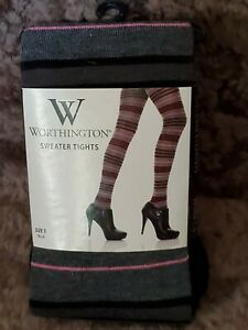 "Vnt Worthington Black & Pink Sweater Tights (Size 1) Fits 4'11""-5'.5""~100-135 Lb"