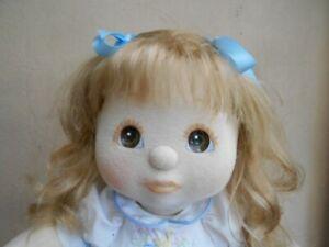 My child doll ash blonde hair brown eyes peach makeup