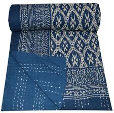Indian Reversible Kantha Quilt Blue Indigo Twin/Single Blanket Throw Bedspread