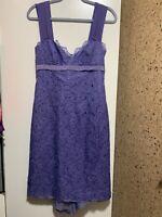 Nicole Miller Women's Dress Purple Blue Size 8 Cocktail Floral Lace 100% Silk