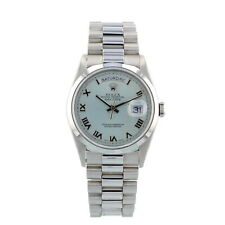 Rolex Day Date 18206 36mm Platinum President Silver Dial Box and Papers 1998