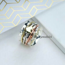 Solid 925 Sterling Silver Brass Copper Wide Band Spinner Ring Jewelry sz1200