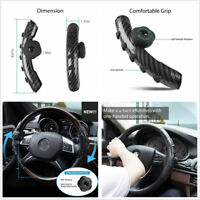 Carbon Fiber Black Car Booster Steering Wheel Cover w/Spinner Silicone Non-slip