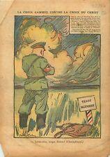 Caricature Politique anti-Nazi Croix du Christ Allemagne  1937 ILLUSTRATION