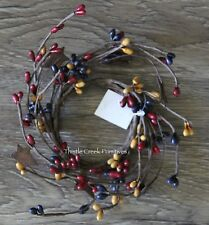 """2"""" Pip Berry Candle Ring with Rusty Stars - Colonial Colors"""