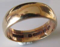 Vintage 9ct yellow gold plain wedding band (6mm) ring size N 1/2.