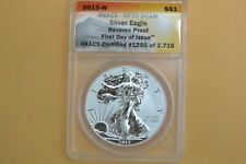 2013-W AMERICAN SILVER EAGLE REVERSE PROOF ANACS RP70 DCAM FIRST DAY ISSUE
