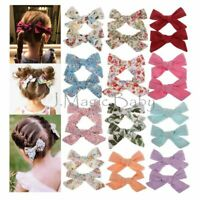 Set of 2 Baby Girls Cotton Hair Clip Pin Bow Knot Hair Accessories Barrettes