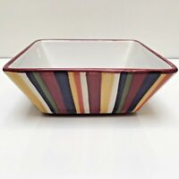 """Pampered Chef Simple Additions Square Serving Bowl Stripes 7"""" Diameter"""