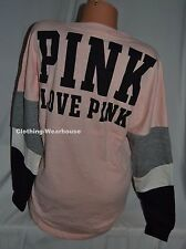 Victoria's Secret PINK Varsity Crew Sweatshirt Pullover Gray White Black M NEW