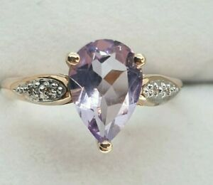 9ct  Rose Gold Amethyst Ring with Diamonds Size O 1/2 - As New