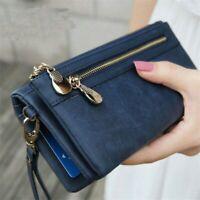 Women's Wallets Leather Card Clamps Purse Cash Clip Billfold Handbag Lady Female