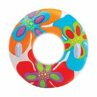Intex 58263EP Groovy Color Inflatable Tropical Flower Transparent Tube Raft