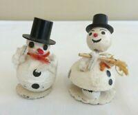 2 Vintage Putz Christmas Snowmen Bobblehead Spun Cotton Cardboard Mica  Japan