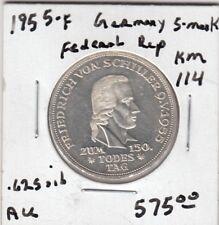 """STRAORDINARY GERMANY COIN SILVER 5 MARK 1955 F """"Schiller"""" RARE - AU Condition"""