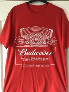 Budweiser 2018 World Cup Promo T-Shirt, Red Size Large. Never been worn