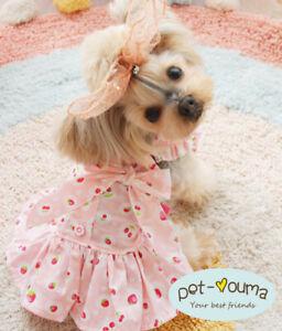 Female Dog Dress Size Extra Small to Medium Cotton Skirt for Cat Yorkie Shih Tzu