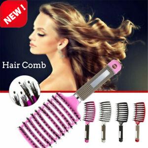 Womens Mens Natural Boar Bristle Detangling Nylon Brush Curved Curly Hair