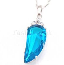 Men White Gold Plated Aqua Simulated Diamond Charm Big Horn Pendant Necklace UK