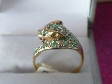 gold emerald ring with a panther / leopard head -new size N