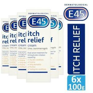 6 x E45 Dermatological Itch Relief Cream Treats Dry,Itchy Skin & Eczema 100g