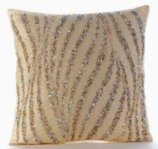 18x18 inch Beige Couch Cushion Cover Luxury Silk, Sequins - Wave Of Gold