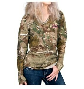 Realtree AP Women's Ladies Camo Long Sleeve V-Neck T-Shirts: S-XL