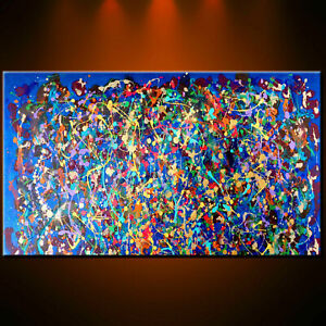 Original Oil Painting wall Deco Gift Gold Abstract Modern Office Light Canvas