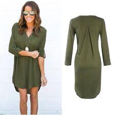Women Long Sleeve Chiffon Button Down Blouse Shirt Casual Loose Mini Dress QK