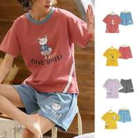 Women Cotton Short Sleeves Pajama Sets Cartoon Sleepwear Spring Summer Homewear