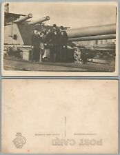 NAVAL ARTILLERY MILITARY ANTIQUE REAL PHOTO POSTCARD RPPC HUGE CANNONS