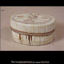 Antique Native American Indian Porcupine Quill Birchbark Oval Box